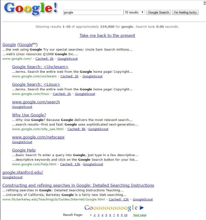 Google in 1998 - Best Google Easter Eggs Games - 15 Best Hidden Google Easter Eggs and Games