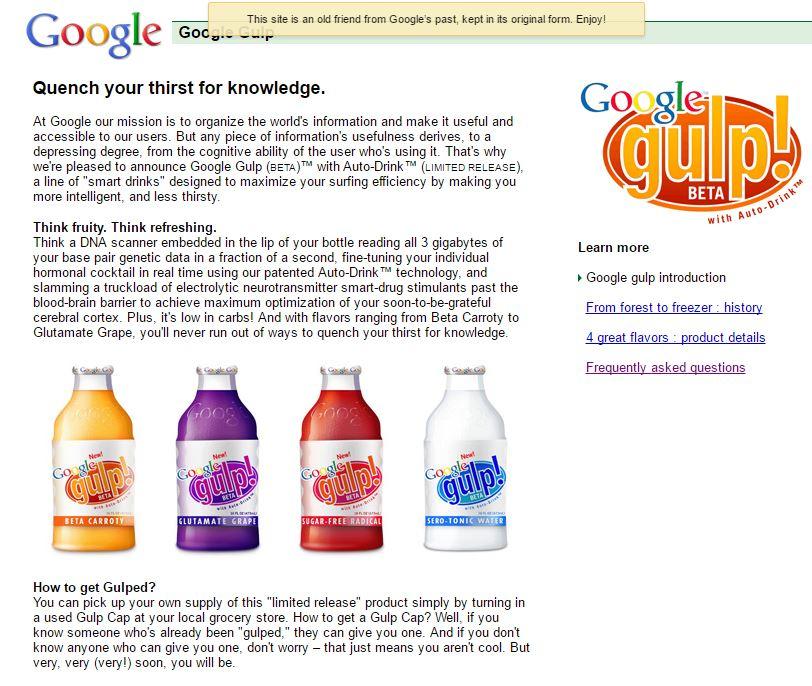 Google Gulp - Best Google April Fool Pranks - Google MentalPlex, Google Gulp and Other Funny Google's April Fool FAQs You Should Know