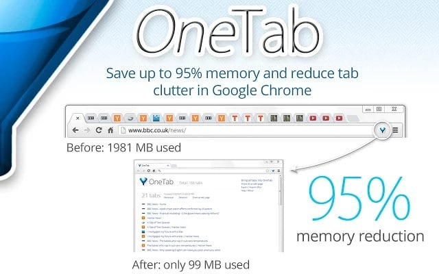 onetab - How to Reduce Chrome Memory Usage? -Top 4 Best Chrome Extensions to Reduce Chrome Memory Usage