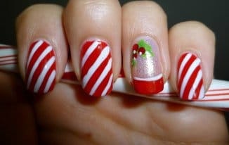 Candy Canes - Best Christmas Nail Art Ideas and Designs -7 Simple Yet Attractive Christmas Nail Art Ideas for Holidays