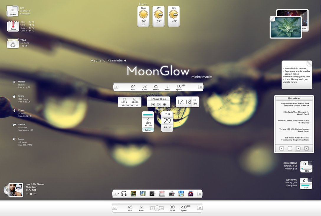 MoonGlow- 20 Best Rainmeter Skins to Customize Rainmeter - Best Rainmeter Skins - Cool Skins for Rainmeter Theme